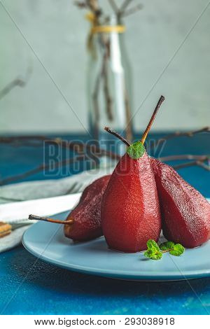 Pears Stewed In Red Wine Or Pomegranate Juice