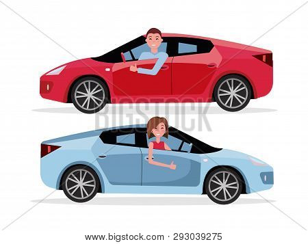 Smiling Man Driving His Car, Looking Out Side Window, Showing Thumb Up Gesture. Cheerful Driver Behi