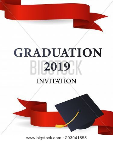 Graduation 2019 Invitation Design. Red Ribbons And Mortarboards With Gold Tassel. Illustration Can B