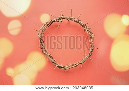 Crown Of Thorns Like Jesus Christ Wore With Drops Of Blood On Tips Of Thorns With Bokeh Lights Over