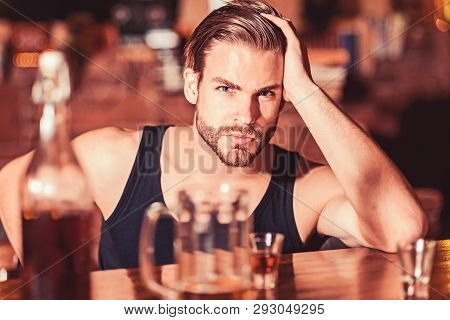 Enjoy The Drinks, But Not Too Much. Alcohol Addiction And Bad Habit. Alcoholic Man Drinking At Bar C
