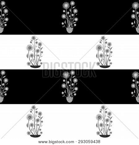 Elegant Hand Drawn White And Black Bunch Of Flowers In Seamless Vector Pattern On Horizontal Striped