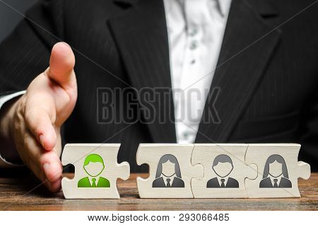 A Businessman Joins A New Employee To The Team As Its Leader. Hiring New Employees For The Project.,