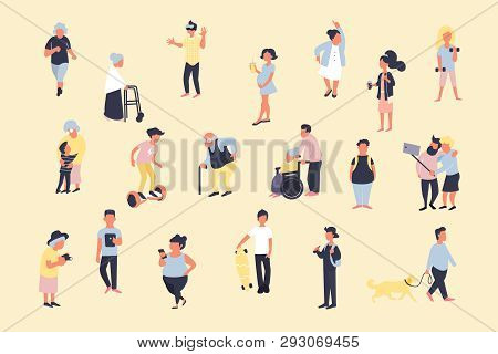 Set Of Cartoon People Walking On Street. Crowd Of Male And Female Tiny Characters. Colorful Vector B