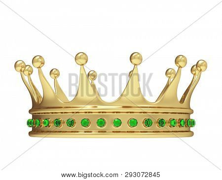 Shiny gold crown decorated with green precious gems isolated on white background. Front view of royal crown. 3D rendering.