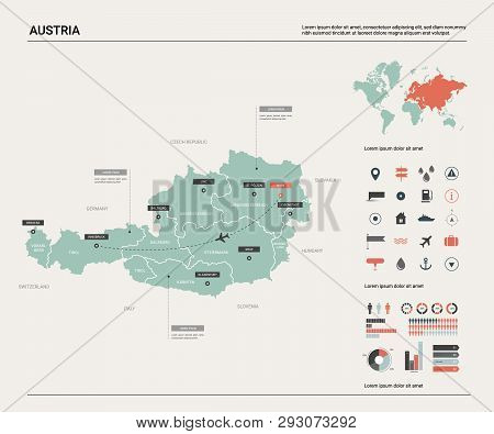 Vector Map Of Austria .  High Detailed Map With Division, Cities And Capital Vienna. Political Map,