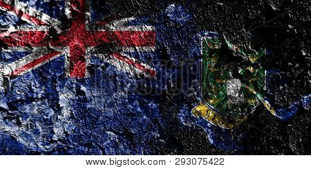 British Overseas Territories - British Virgin Islands Smoky Mystical Flag On The Old Dirty Wall Back