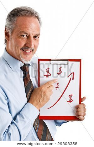 Businessman showing a rising arrow, representing business growth
