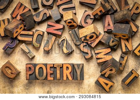 poetry word abstract - text in vintage  letterpress wood type printing blocks with random letters and numbers
