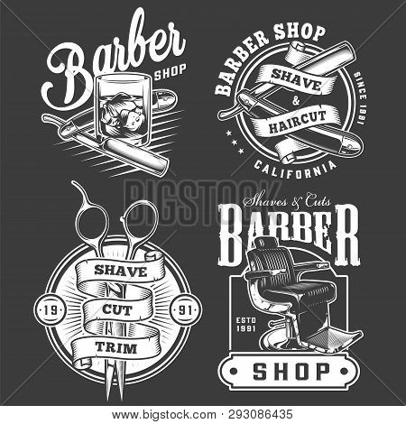 Monochrome Barbershop Emblems Set With Straight Razors Glass Of Whiskey Scissors Barber Chair In Vin