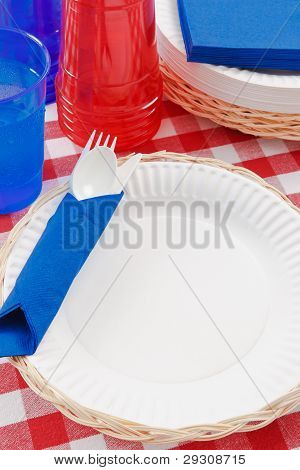 Red, White And Blue Picnic Table Setting