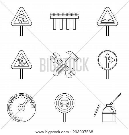 Rugged Terrain Icons Set. Outline Set Of 9 Rugged Terrain Icons For Web Isolated On White Background