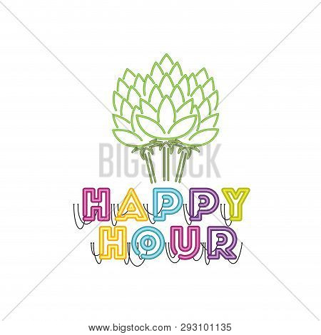 Pinecone Green In Neon Light Icon Vector Illustration Desing
