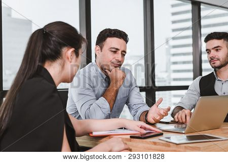 Business People Are Meeting Discussing About Their Project And  Problem Solving In Conference Room,