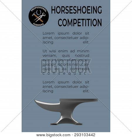 Horseshoeing Competition leaflet template in realistic style with a logo with nippers, horseshoe and hammer. Fine for promo materials, leaflets, banners, brochures. poster