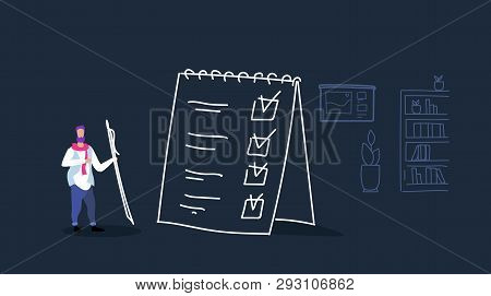 Man Holding Pen Performing Tasks Businessman Completed Checklist Task Performance Concept Office Int