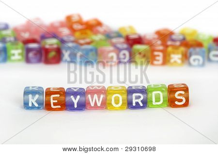 Text Keywords On Colorful Cubes