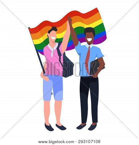 Mix Race Couple Gays Holding Lgbt Rainbow Flag Love Parade Pride Festival Concept Two Smiling Guys S