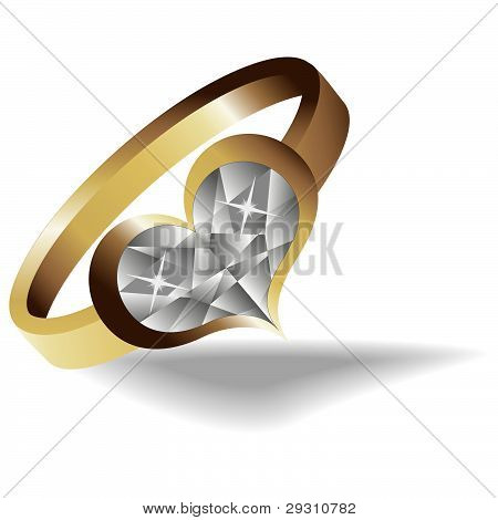 Gold Ring With Brilliant Heart  Vector Illustration