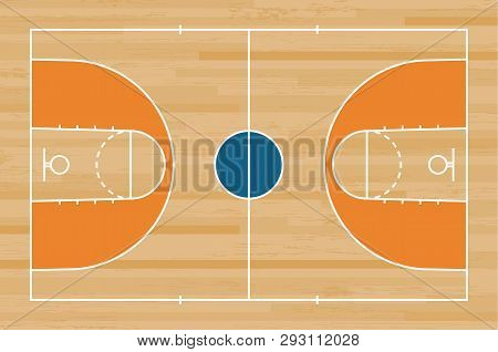 Basketball Court Floor With Line On Wood Pattern Texture Background. Basketball Field. Vector.