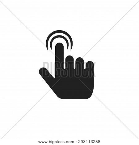 Finger Click Icon Vector Illustration, Flat Index Thumb Touching Symbol Isolated Sign, Black And Whi