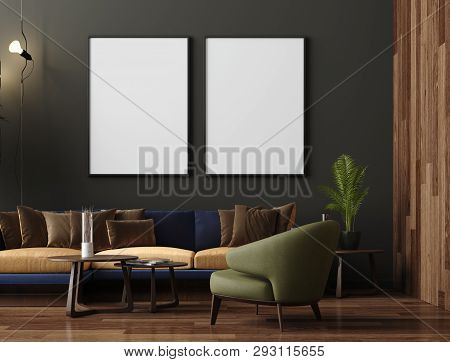 Mock Up Poster In Luxury Modern Living Room Interior, Dark Green Brown Wall, Modern Sofa And Plants,