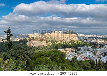Acropolis Of Athens, With The Parthenon Temple, Athens, Greece.