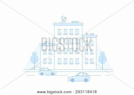 Town City Street Panoramic Cityscape. Panorama Of The City With Cars, Trees And Houses On A Mountain