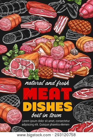 Meat Food Products Of Sausages, Smoked Chicken Wings And Bbq Beef Steak, Pork Brisket, Ham And Bacon