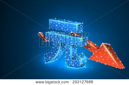 China Yuan Currency, Downtrend Red Arrow, Digital Neon 3d Illustration. Polygonal Vector Business Cr