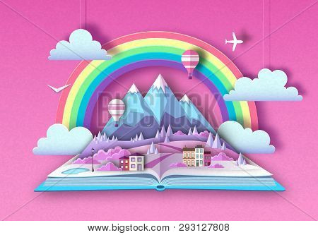 Open Fairy Tale Book With Countryside Mountains Landscape. Cut Out Paper Art Style Designopen Fairy