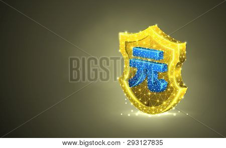 Golden Security Shield With China Yuen Currency Sign, Abstract Colorful 3d Illustration. Polygonal V