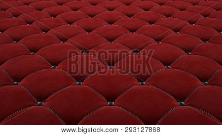 Quilted Fabric Surface. Red Velvet And Black Leather. Option 1