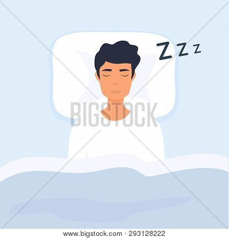 Man Sleep In Bed. Person Having A Dreamful Slumber In Bed On A Pillow With Some Sleeping Sound.
