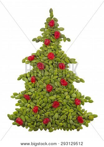 Christmass Spruce Made From Pumpkin Seeds Isolated On White. Clipping Path Included.