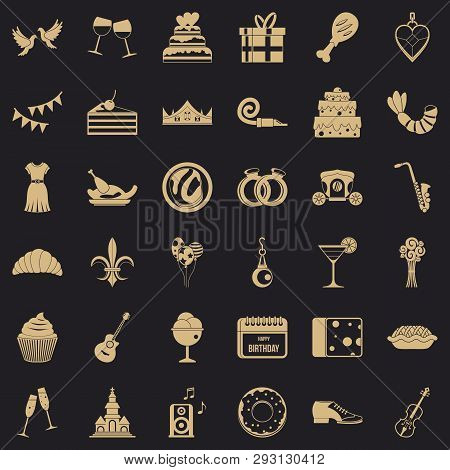 Birthday Banquet Icons Set. Simple Style Of 36 Birthday Banquet Vector Icons For Web For Any Design