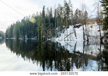 Calm River Jokelanjoki At Spring, Kouvola, Finland.