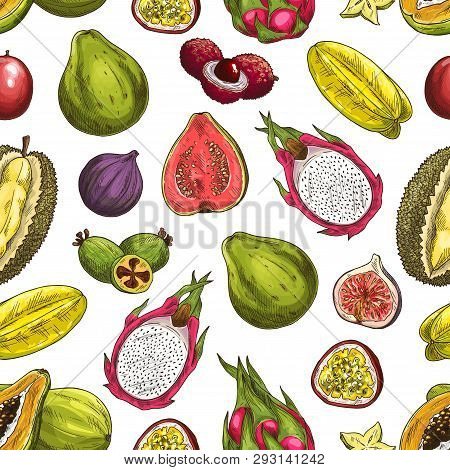 Exotic Fruits Vector Seamless Pattern Background With Sliced Tropical Berries. Papaya, Feijoa And Fi