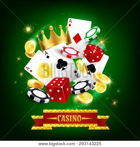 Casino Gambling Game 3d Vector Poster. Roulette, Poker Playing Cards And Dice, Blackjack Chips And G