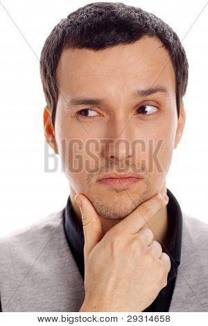 thinking man with white background