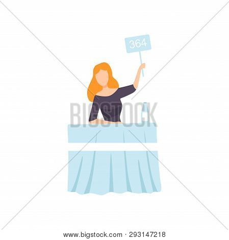Businesswoman Bidding In Public Auction House, Female Bidder Raising Paddle With Number To Buy Piece