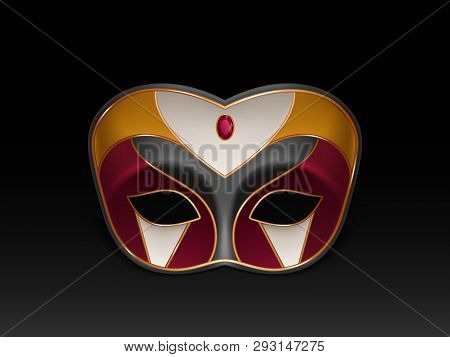 Half-face Colombina Mask Decorated With Precious Stone, Red Ruby And Gilding 3d Realistic Vector Ico