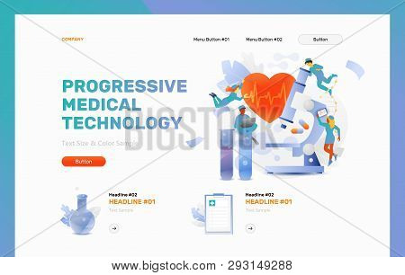 Progressive Medical Technology Vector Header Or Frontpage Template. Tiny Physicians Around Microscop