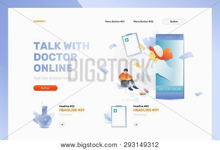 Talk With Doctor Online Vector Header Or Frontpage Template. Physician And Patient. Telemedicine And