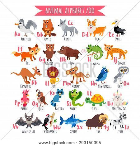 Zoo Alphabet. A-z Animal Alphabet. Vector Poster.