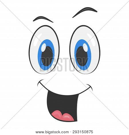 Cartoon Face With A Smiling Expression. Cartoon Emoji Character. Funny Emoticon Face Icon.  Vector I
