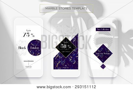 Set Of Marble Stories Template. Kit Of Three Popular Banners. New Collection, Sale And Black Friday.