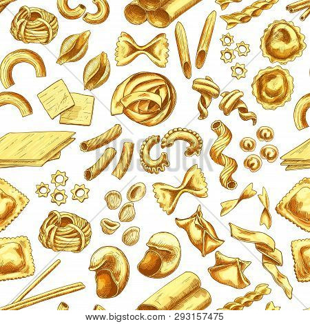 Pasta, Italian Macaroni And Spaghetti Sketch Seamless Pattern. Food Of Italy Vector Background With