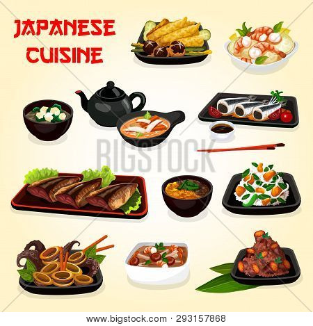 Japanese Cuisine Seafood And Vegetable Dishes With Asian Soy Sauce Vector Design. Baked Fish, Shrimp