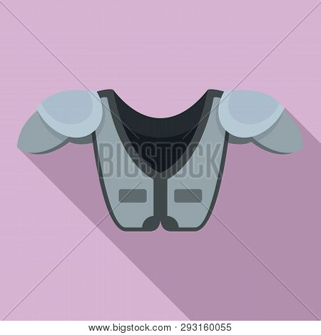 American Football Shoulder Chest Protect Icon. Flat Illustration Of American Football Shoulder Chest